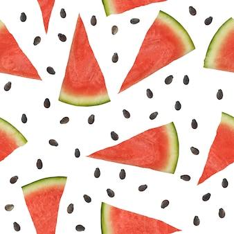 Pedaços de melancia sem costura padrão e sementes em um branco