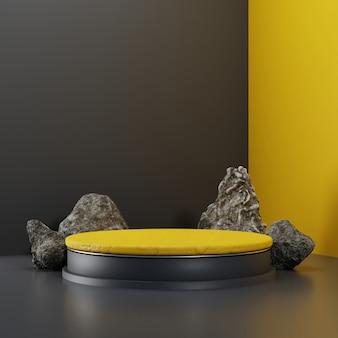 Pedastal realista de renderização 3d na cor amarela com elemento de rocha