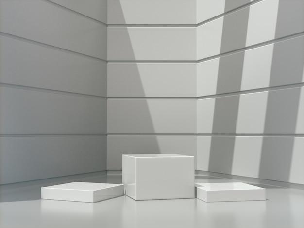 Pedestais brancos para a mostra do produto na sala branca