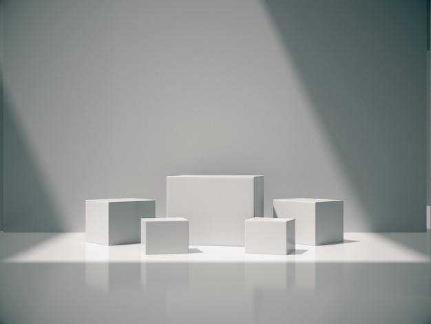 Pedestais brancos para exibição do produto no quarto branco