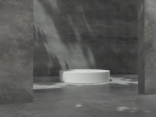 Pedestais brancos para exposição de produtos em sala de concreto.