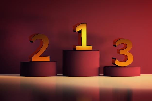 Pedestais com números dourados para os vencedores. símbolos de competição e cerimônia em luxuoso