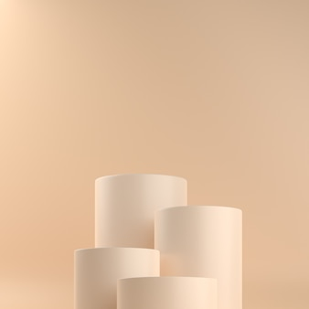Pedestais de cilindro bege em tons pastéis