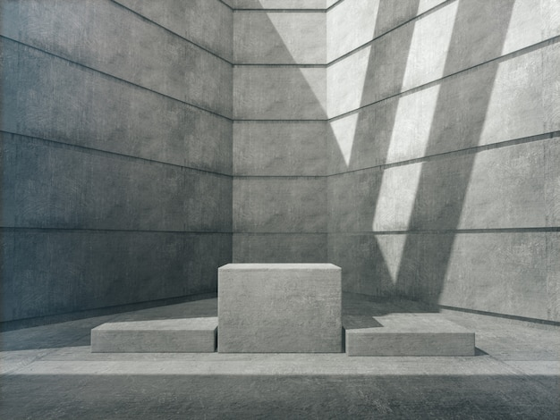 Pedestais de concreto para a mostra do produto na sala de concreto