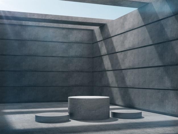 Pedestais de concreto para exposição de produtos