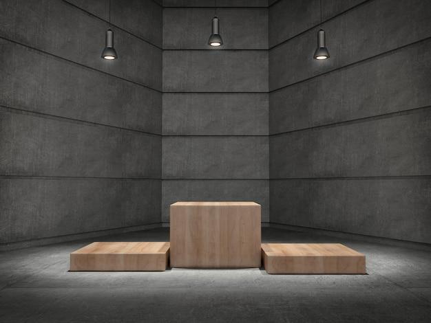 Pedestais de madeira para exibição de produtos na sala de concreto com lâmpadas