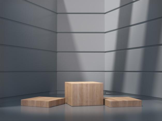 Pedestais de madeira para mostrar no quarto branco
