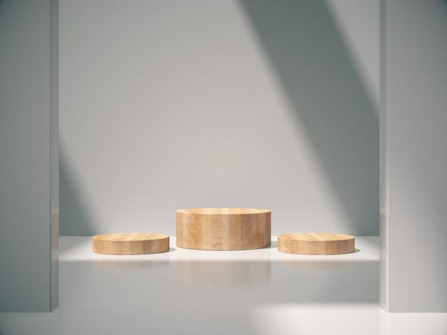 Pedestais de madeira para o produto mostrando no quarto branco