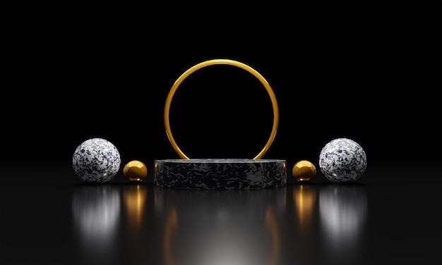 Pedestais ou pódios de mármore com molduras douradas e fundo preto