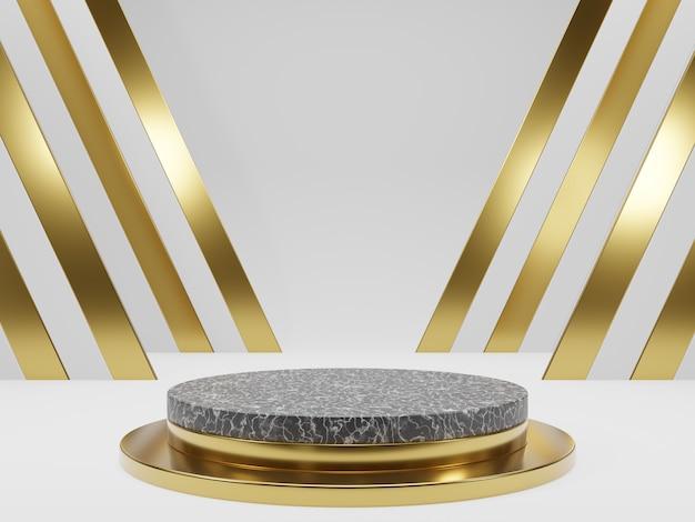 Pedestais ou pódios de mármore com molduras douradas e renderização em 3d de decoração