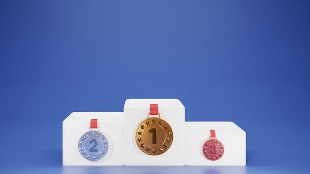 Pedestal 3d ou pódio com três medalhas de posição no fundo azul.