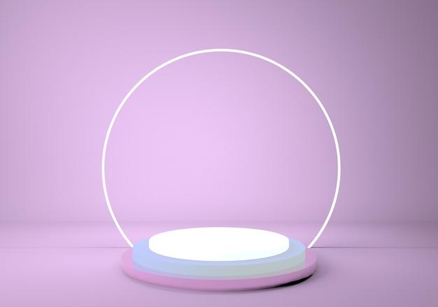 Pedestal 3d, plataforma cilíndrica, pódio metálico brilhante com moldura redonda de néon.