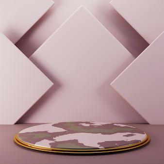 Pedestal abstrato simples com linha de ouro