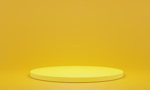 Pedestal amarelo para exibição. suporte de produto vazio com forma geométrica. 3d rendem.