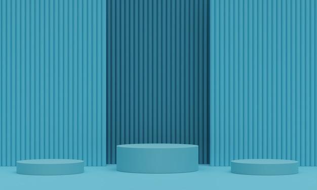 Pedestal azul para exibição. suporte de produto vazio com forma geométrica. 3d rendem.