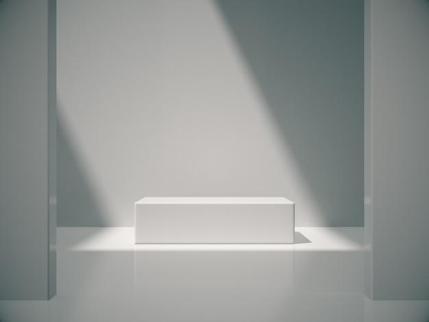 Pedestal branco para exibição do produto no quarto branco