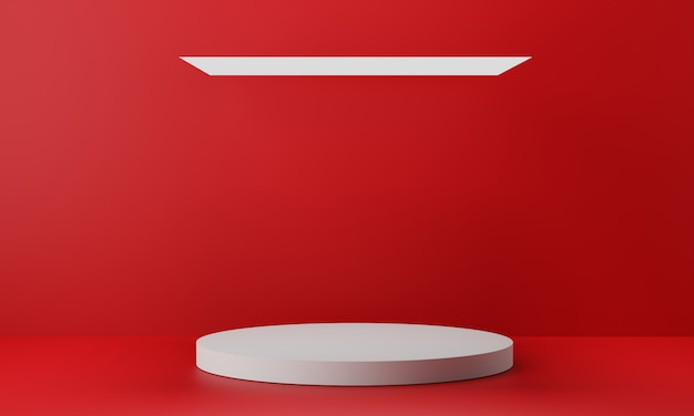 Pedestal branco para exibição. suporte de produto vazio com forma geométrica. 3d rendem.