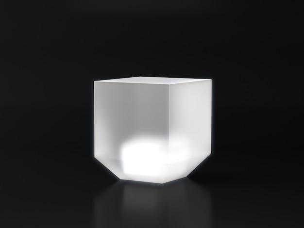 Pedestal branco para vitrine de produtos com brilho de luz branca em fundo escuro.