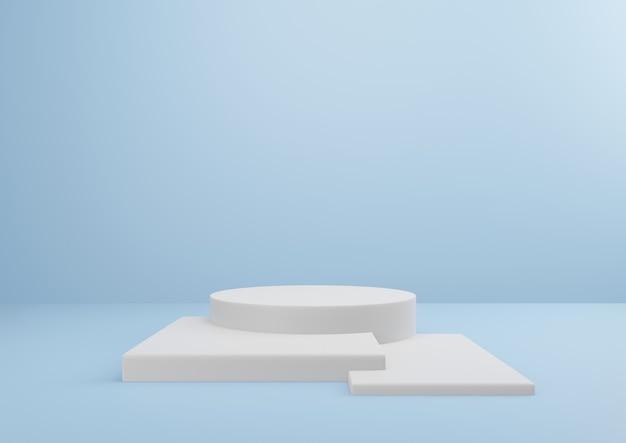 Pedestal branco sobre fundo azul design mínimo para apresentação de produto renderização em 3d.