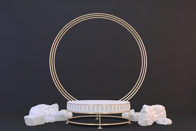 Pedestal branco sobre fundo preto para a apresentação. renderização 3d