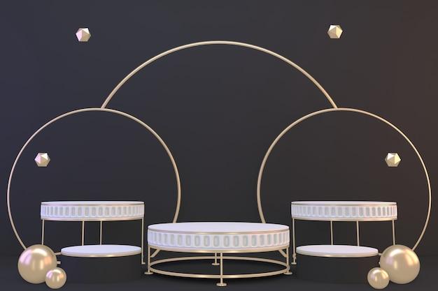 Pedestal branco sobre fundo preto para apresentação de produtos cosméticos. renderização 3d