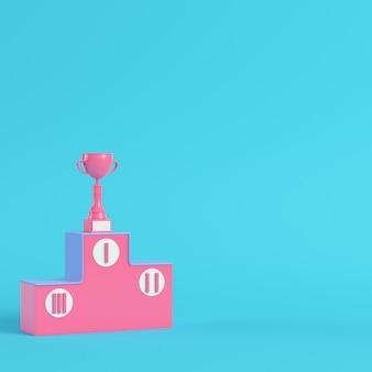 Pedestal com copa de troféu renderização em 3d
