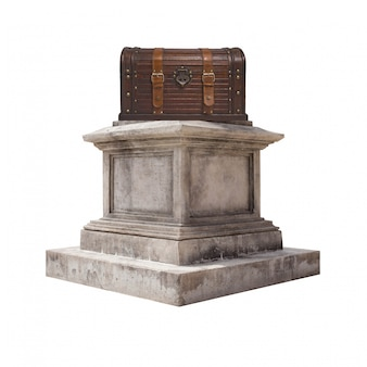 Pedestal com um tronco de madeira