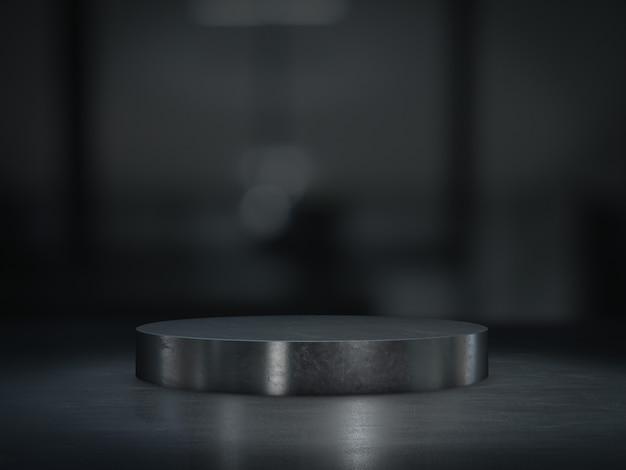 Pedestal de aço para exibição do produto no quarto escuro