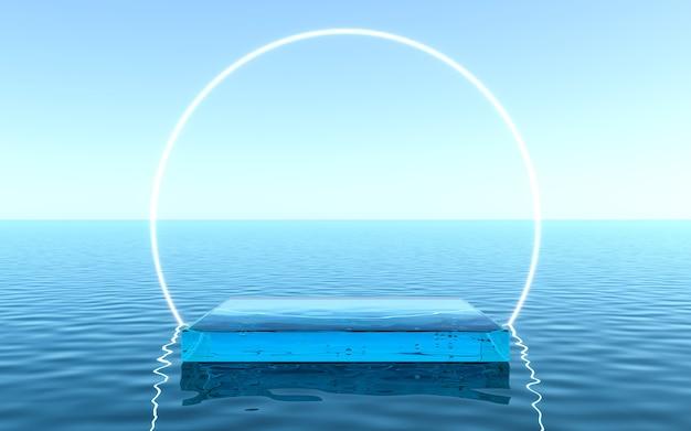 Pedestal de água para exposição de produtos, piso líquido com fundo de quadro de néon. renderização 3d