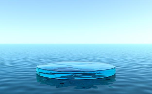 Pedestal de água para exposição de produtos, piso líquido com reflexo na água. renderização 3d