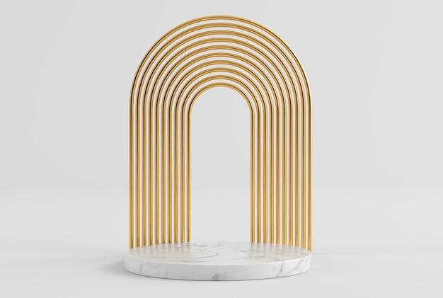 Pedestal de apresentação de produto de ouro branco limpo em ouro e mármore renderização 3d