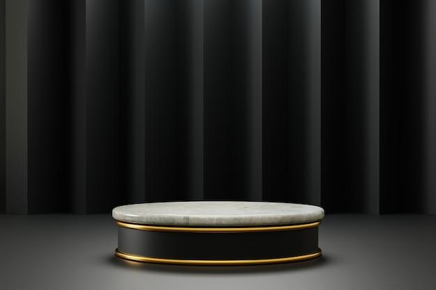 Pedestal de cilindro de mármore de renderização 3d com decoração dourada e fundo preto abstrato
