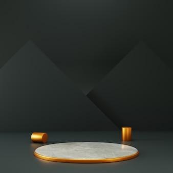 Pedestal de cirlce de renderização 3d com sotaque de ouro e fundo preto triângulo