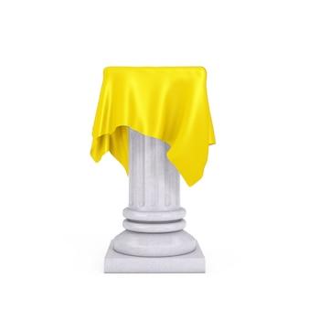 Pedestal de coluna de apresentação branco com pano de seda amarelo sobre um fundo branco. renderização 3d