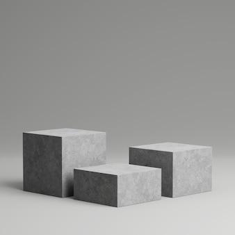 Pedestal de concreto para exposição de produtos com fundo cinza.