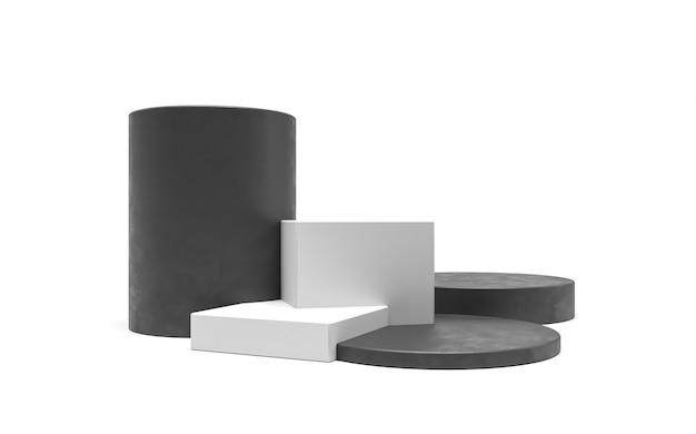 Pedestal de exposição de pódio para promoção de mercadorias cubos e cilindros cena de venda de plataforma pódio branco preto isolado cosméticos arquitetônicos ilustração 3d render figuras de caixas geométricas