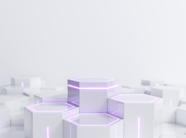Pedestal de ficção científica hexagonal futurista com luz de néon roxa para exposição de produtos