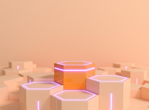 Pedestal de ficção científica hexagonal futurista na cor laranja pêssego com luz de néon roxa para exibição de mostruário de produtos renderização em 3d