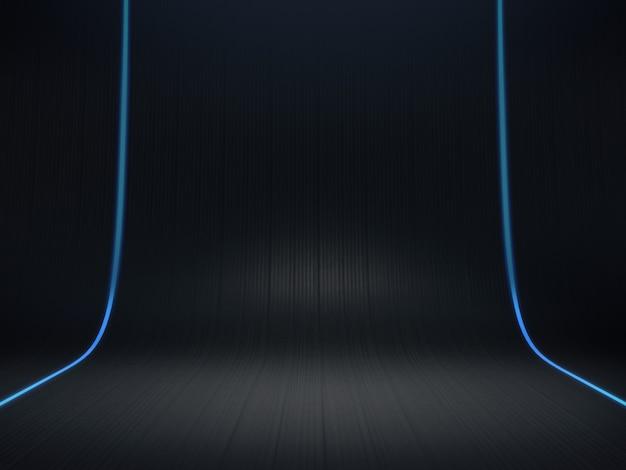 Pedestal de hexágono para exibição, plataforma de design, suporte de produto em branco com brilho de luz. renderização 3d.