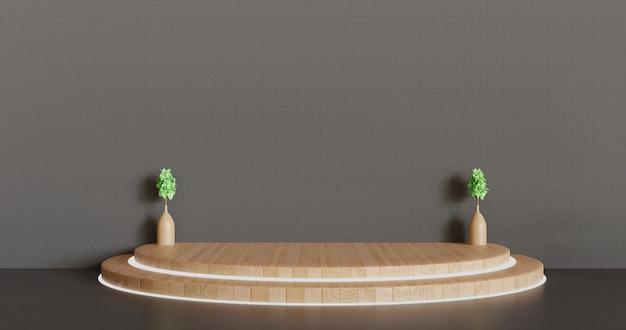 Pedestal de madeira minimalista ou fundo de vitrine de palco, pódio renderizado em 3d com vaso de plantas
