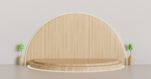 Pedestal de madeira moderno ou fundo de vitrine de palco, pódio renderizado em 3d minimalista com vaso de plantas