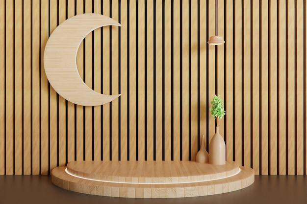 Pedestal de madeira ou fundo de vitrine de palco, pódio renderizado em 3d