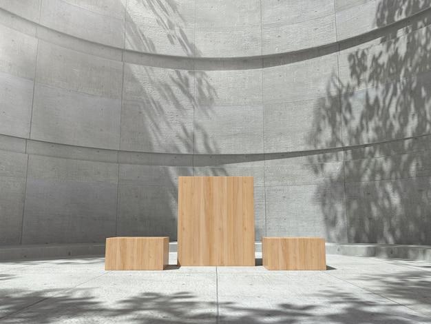 Pedestal de madeira para exibição com sombra de árvore na parede