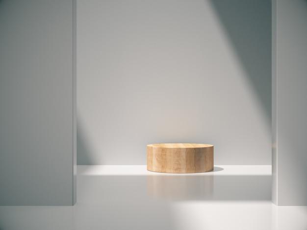 Pedestal de madeira para exibição do produto no quarto branco