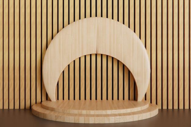Pedestal de madeira para o fundo da vitrine, palco do pódio renderizado em 3d