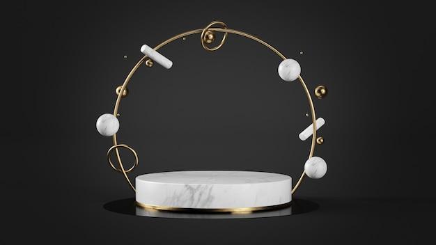Pedestal de mármore branco e ouro com anel de ouro e formas geométricas simulando renderização em 3d