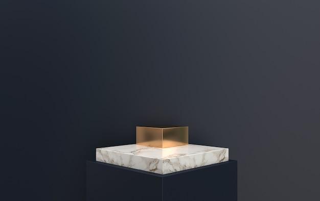 Pedestal de mármore de renderização 3d localizado em fundo preto, plataforma quadrada com detalhes dourados, renderização 3d, cena com formas geométricas, fundo abstrato mínimo