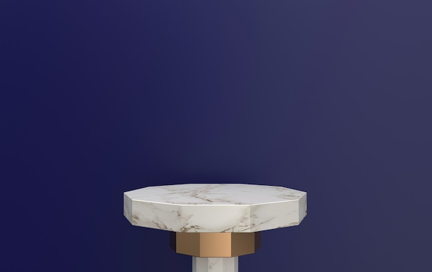Pedestal de mármore de renderização 3d localizado em fundo violeta, plataforma de mármore com detalhes dourados, renderização 3d, cena com formas geométricas, fundo abstrato mínimo