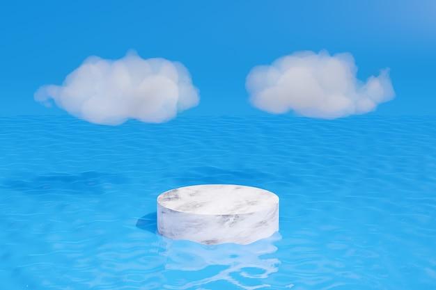 Pedestal de mármore na água com nuvens brancas