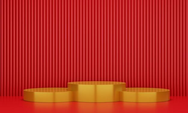 Pedestal de ouro para exibição. suporte de produto vazio com forma geométrica. 3d rendem.